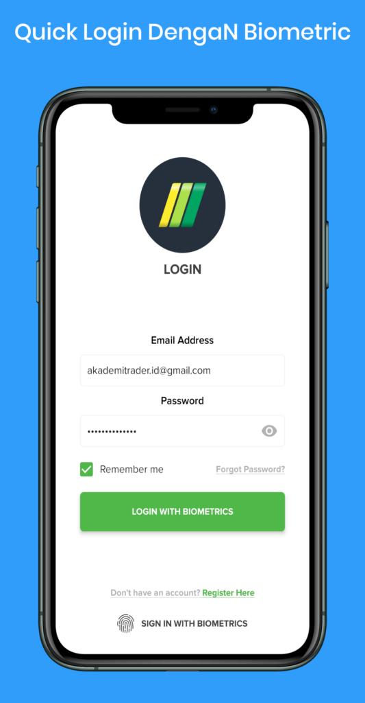 Tampilan MIFX Mobile - Biometric Login